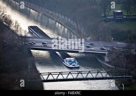 Rhine Herne canal, Oberhausen, Germany - Stock Photo