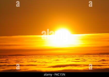 Sunset over the Sea of Fog - Stock Photo