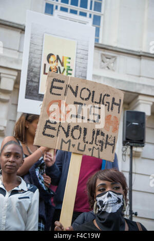'All lives matter' March in Hackney October 11th 2015 to protest against gun and knife violence - Stock Photo