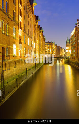 The Speicherstadt in Hamburg at night - Stock Photo