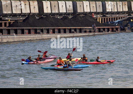 Canoeists in Coal Harbour, Marl, Germany - Stock Photo