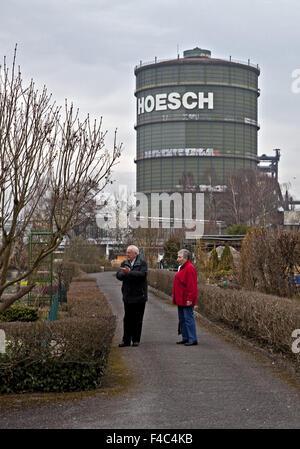 Allotments with Gasometer, Dortmund, Germany - Stock Photo