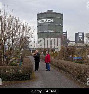 Allotments with Gasometer, Dortmund, Germany - Stock Photo