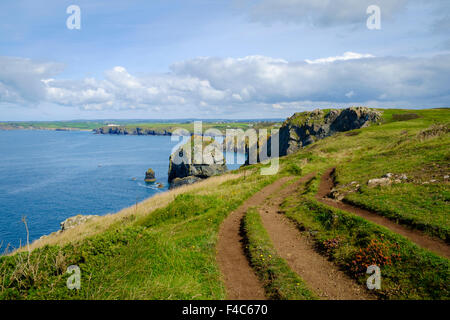 South West Coast path and Cornwall coast view near Mullion, Lizard Peninsula, Cornwall, England, UK - Stock Photo