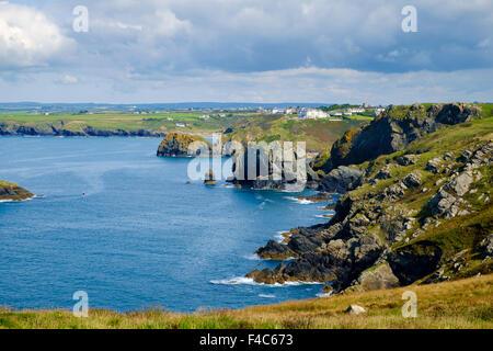 View of Cornish coast from South West Coast Path at Mullion, Lizard Peninsula, Cornwall, England, UK - Stock Photo