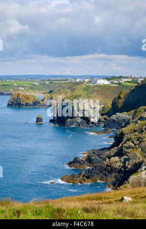 View of Cornwall coast from South West Cornwall Coast Path at Mullion, Lizard Peninsula, England, UK - Stock Photo