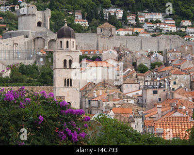 View of houses church and fortification wall with tower, Dubrovnik Croatia old town an Unesco World Heritage site - Stock Photo
