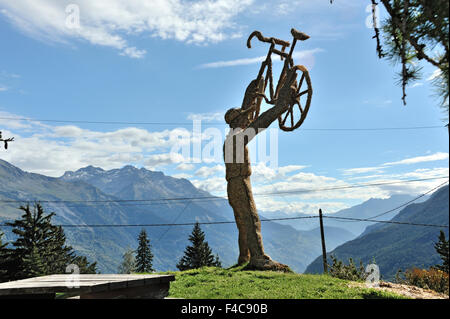 Regards to the cycle race Tour de France at Col du Télégraph, Route des Grandes Alpes, French Alps, France - Stock Photo