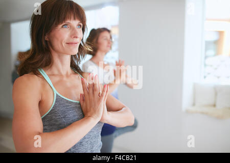 Portrait of fitness woman in doing yoga. Female trainer with student practicing Vrikshasana. Tree Pose with hands - Stock Photo
