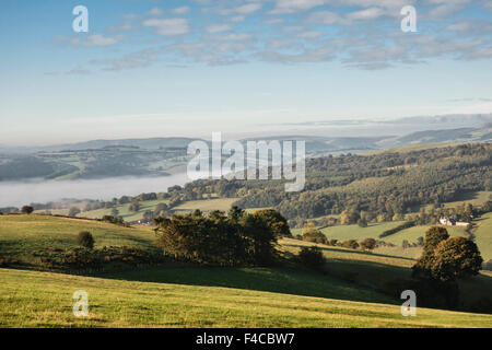 Autumn morning on the Welsh Borders near Knighton - view west from Stonewall Hill in Herefordshire to the hills - Stock Photo