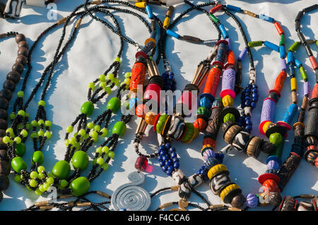 Necklaces for sale, Walvis Bay, Erongo Region, Namibia. - Stock Photo