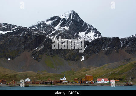 South Georgia. Whaling station. View from the water. - Stock Photo