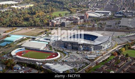 aerial view of The Etihad Stadium & Manchester Regional Arena & National Squash Centre, Manchester, UK - Stock Photo