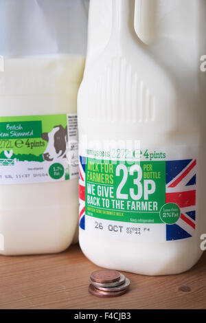 UK. 16th October 2015 - Morrisons supermarket have now introduced their own brand 'Milk For Farmers' product. The - Stock Photo
