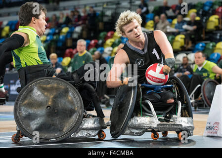 London, UK. 16th October, 2015. Cameron Leslie of New Zealand scores during the BT World Wheelchair Rugby Challenge - Stock Photo