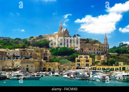 A view of Gozo, one of the Maltese Islands. - Stock Photo