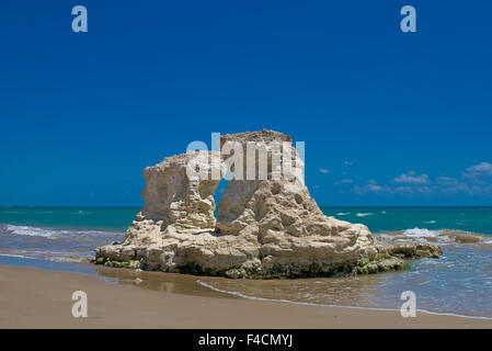 Limestone Rock Formation along the coast of Pozzallo, Italy. - Stock Photo
