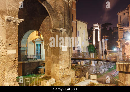 Porticus Octaviae and Theater of Marcellus by night, Rome, Italy - Stock Photo