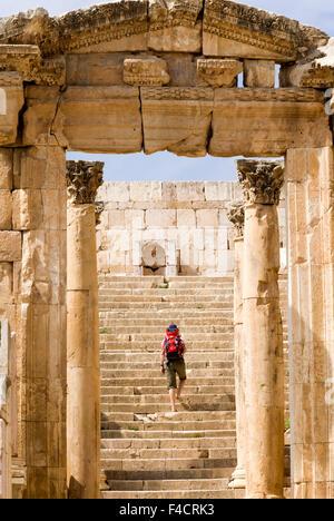 The Cathedral, Jerash, Jordan. Once the Roman Decapolis city of Gerasa. - Stock Photo