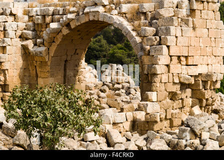 Ruins of the West Bath, Jerash, Jordan. Once the Roman Decapolis city of Gerasa. - Stock Photo