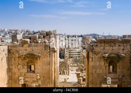The Temple of Artemis, Jerash, Jordan. Once the Roman Decapolis city of Gerasa. - Stock Photo
