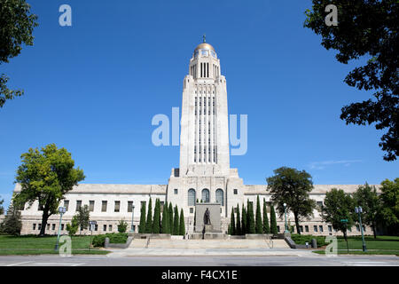 Nebraska State Capitol building located in Lincoln, Nebraska, USA. - Stock Photo