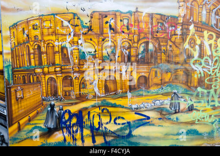 Colosseum graffiti. Testaccio, Rome, Italy - Stock Photo