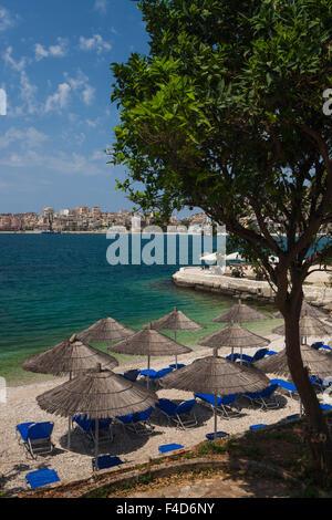 Albania, Albanian Riviera, Saranda, beachfront along the Ionian Sea - Stock Photo