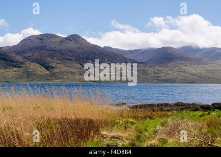 View south across Loch na Keal to cloud covered Ben More and mountains. Isle of Mull Inner Hebrides Western Isles - Stock Photo