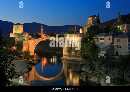 Panoramic view of the Old Bridge (Stari Most) in Mostar, Bosnia-Herzegovina - Stock Photo