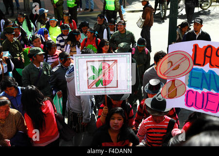 La Paz, Bolivia, 16th October 2015. A student carries a placard discouraging alcohol and marijuana use during a - Stock Photo