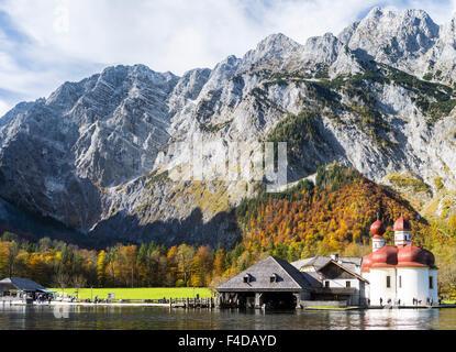 St. Bartholomae chapel at the shore of lake Koenigssee in the Nationalpark Berchtesgaden, Bavaria, Germany. (Large - Stock Photo