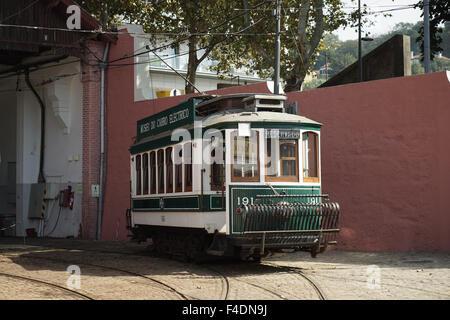 Porto Tram 191 in the Massarelos Depot -5 - Stock Photo