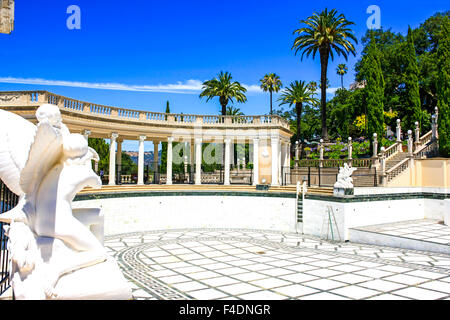 The Neptune Swimming pool. Its centerpiece is the facade of an ancient Roman temple imported by Hearst to his Castle - Stock Photo