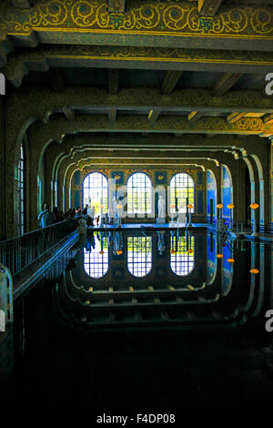 The tiled indoor Roman Pool at Hearst Castle. Styled on the Baths of Caracalla in ancient Rome C: 211-217 - Stock Photo