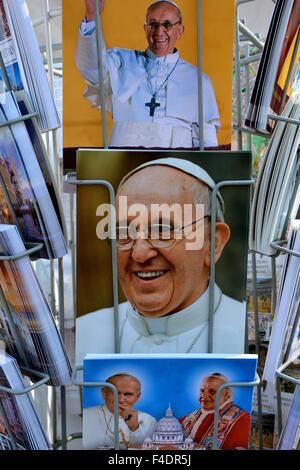 Pope Francis in a postcard rack in Rome Italy - Stock Photo