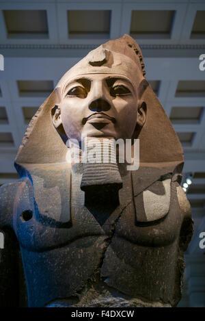 England, London, Bloomsbury, British Museum, Egyptian Room, statue of King Ramesses II, 1270 BC - Stock Photo