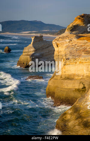 Rock formations along the coast at Cape Kiwanda, Oregon, USA - Stock Photo