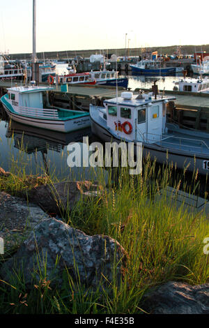 Fishing boats docked in Cheticamp, N.S. - Stock Photo