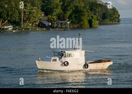 Guatemala, Izabal, Livingston. Port town located at the mouth of the Rio Dulce at the Gulf of Honduras. Traditional - Stock Photo