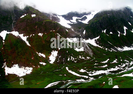 Aerial view of the Tongass National Forest in Juneau, Alaska on the way to the Mendenhall Glacier - Stock Photo