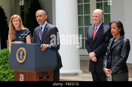 President Barack Obama announces the selections of Susan Rice as National Security Advisor, and Samantha Power as - Stock Photo