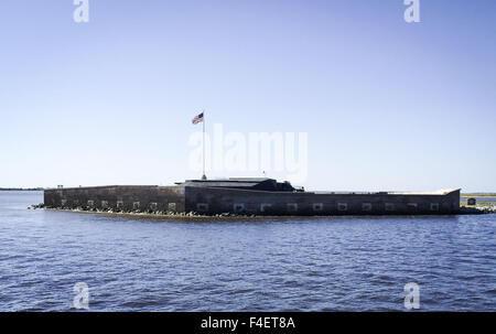 Charleston, South Carolina, USA. 16th Oct, 2015. Union soldiers occupying Fort Sumter, a sea fort at the mouth of - Stock Photo