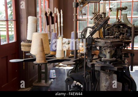 Michigan, Dearborn, Greenfield Village. Open air living museum about the history of America. Historic Weaving Shop, - Stock Photo