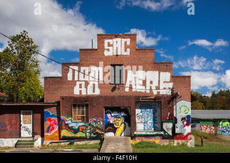 North Carolina, Asheville, River Arts District, graffiti (Editorial Usage Only) - Stock Photo