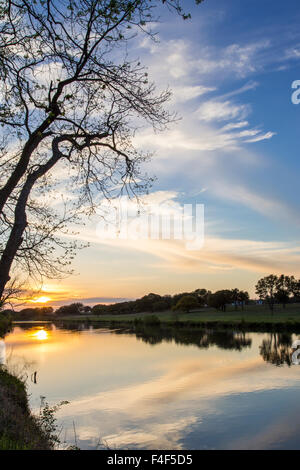 Sunset on the Pedernales River in LBJ State Park in Stonewall, Texas, USA. - Stock Photo