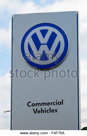 Volkswagen garage forecourt sign, Tower Park, Poole, Dorset England UK - Stock Photo