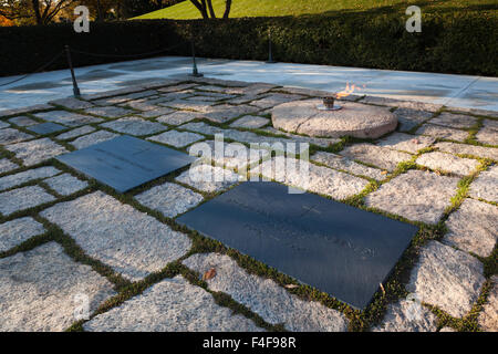USA, Virginia, Arlington, Arlington National Cemetery, graves of former US President John Fitzgerald Kennedy and - Stock Photo