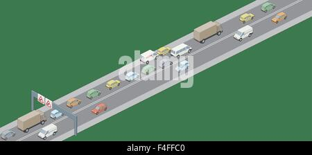 A vector illustration of RH drive vehicles in a traffic jam - Stock Photo