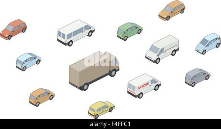 Vector isometric selection of vehicles - Stock Photo
